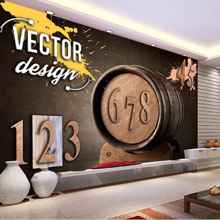 Бар КТВ большой фрески ТВ фон обои ретро деревянные персонализированные флизелиновые обои