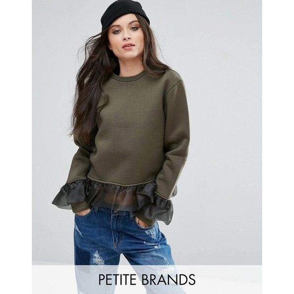 Kubban Petite Ruffle Detail Sweatshirt ($37) ❤ liked on Polyvore featuring tops, hoodies, sweatshirts, green, petite, long sleeve cotton tops, crew neck sweatshirts, tall sweatshirts, petite long sleeve tops and petite tops
