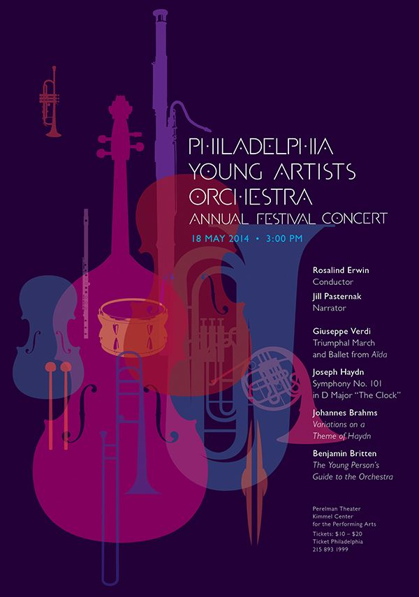 Philadelphia Youth Orchestra (PYO) posters for the performance's at the Kimmel Center for the Performing Arts, Philadelphia.