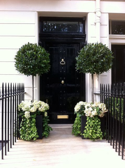 Absolutely gorgeous--zinc planters, black gloss door, and white flowers--PERFECT!!