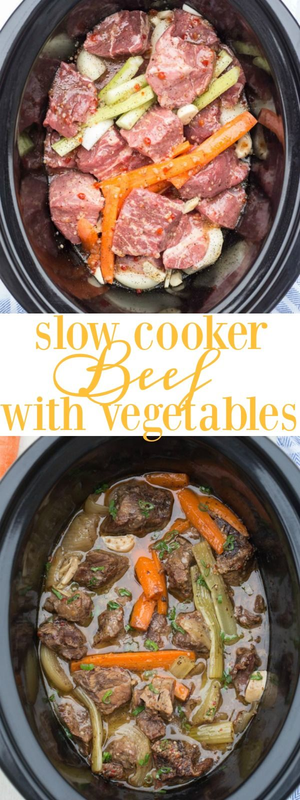 Beef in slow cooker (Crock-pot) with vegetables. Melt in your mouth delicious.