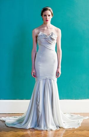 Bridal Gowns: Carol Hannah Mermaid Wedding Dress with Strapless Neckline and Dropped Waist Waistline