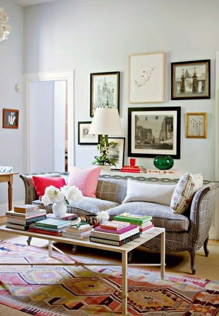 Couch With Pattern Kilim Rug Sleek Coffee Table Eclectic Gallery Wall Subtle Color Rita Koenig Living Room