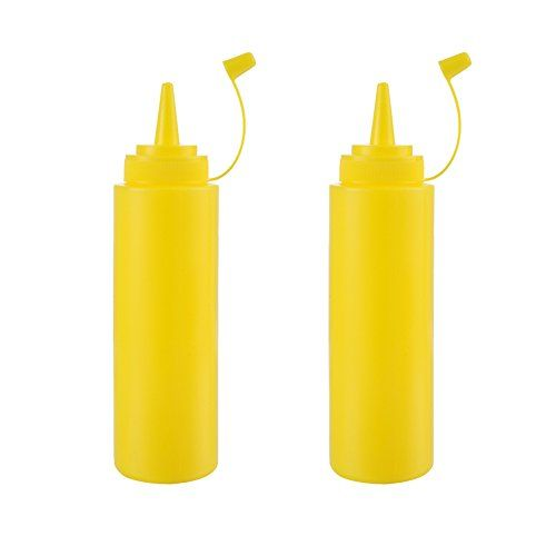 Plastic Squeeze Sauce Bottles Dispenser Seasoning Container for Mustard Ketchup Oil Honey Salad Dressing, Set of 2  Plastic squeeze bottle dispenser with cap  Sizes:Height and diameter: about 18.5 * 4.8 cm / 7.28 * 1.89 in  Safe and convenient, unique design of spout.  Use as sauce, oil, vinegar, ketchup, mustard, mayonnaise dispenser  Great for restaurant and home kitchen use