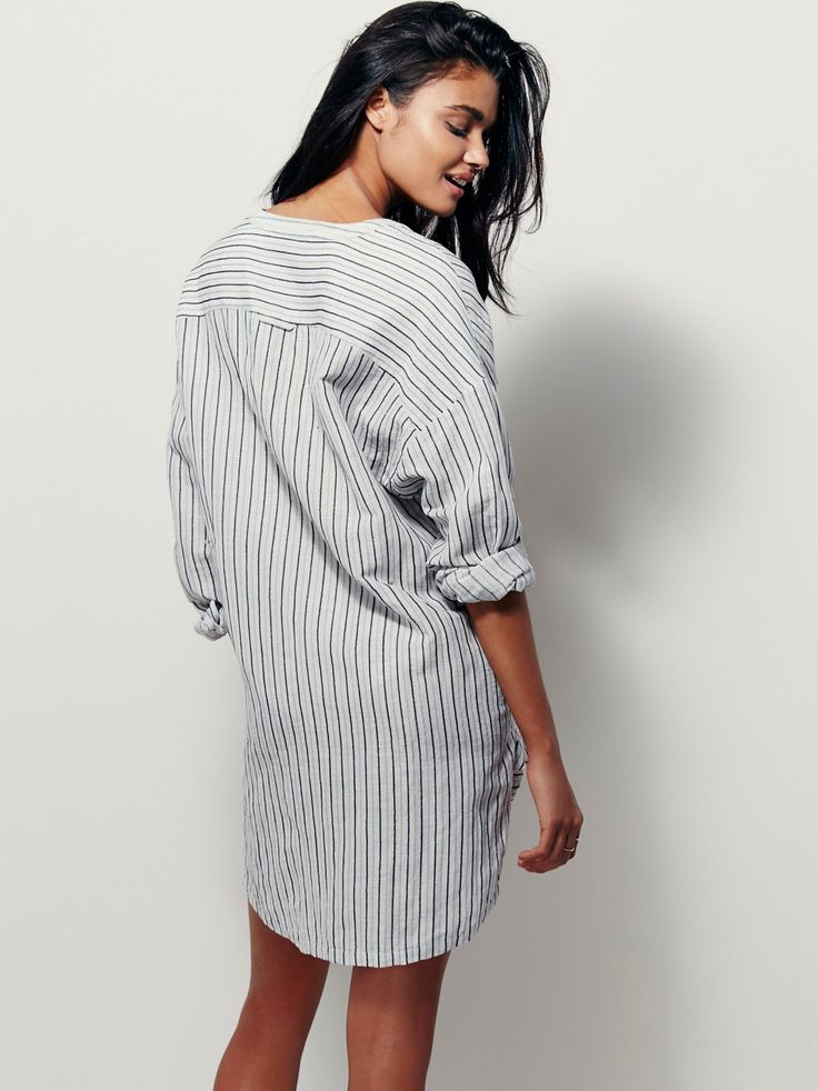 D'dad Sleep Shirt | Lightweight linen sleep shirt in an oversized, effortless fit with button detailing on the placket. In a striped pattern with a high low hem.