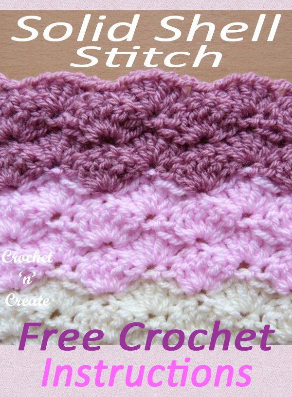 Solid Shell Stitch Free Written Tutorial Crochet N Create Crochet Shell Pattern Easy Crochet Blanket Crochet Baby Blanket Free Pattern