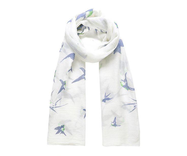 White/blue swallow print scarf