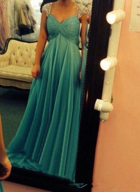 Prom Dress, Sexy Evening Dress,Cap Sleeve Chiffon Prom