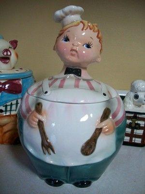 cookiejar.quenalbertini: Rare 1950's Vintage Lefton Baker Boy Chef Cookie Jar | eBay es.pinterest.com/pin/202943526938286063/