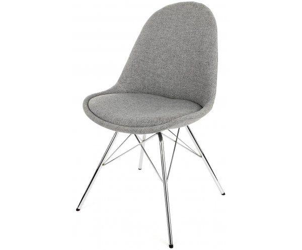 Krzesło Nowoczesne Donna Beżowe Tkanina Nogi Porgy Metalowe Chrom - 682zl