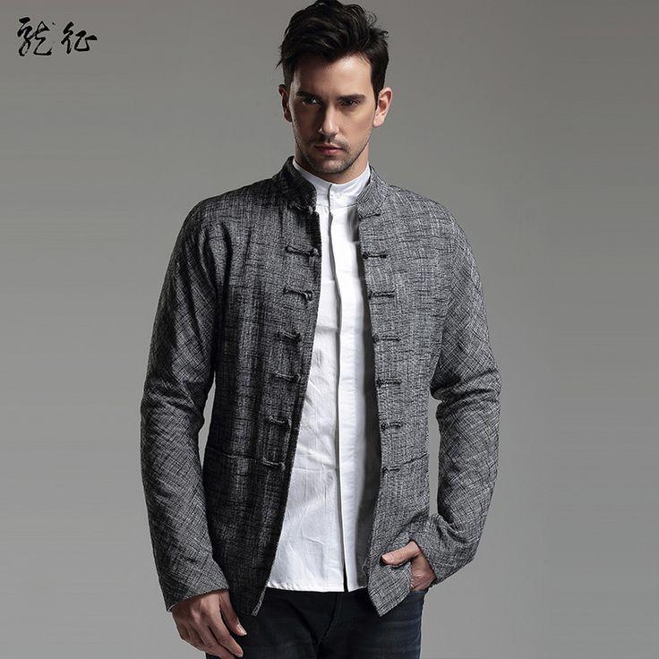 Men's Chinese Style Linen Jacket - Dark Blue yB10iS2