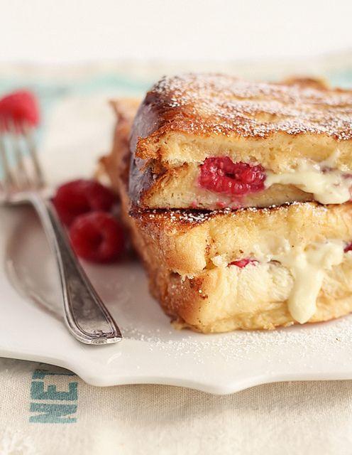 white chocolate and raspberry french toast.: Breakfast, Food, Raspberries Cupcake, Brioche French Toast, Raspberries Brioches, Raspberries French, White Chocolates Raspberries, Brioches French Toast, White Chocolate Raspberry