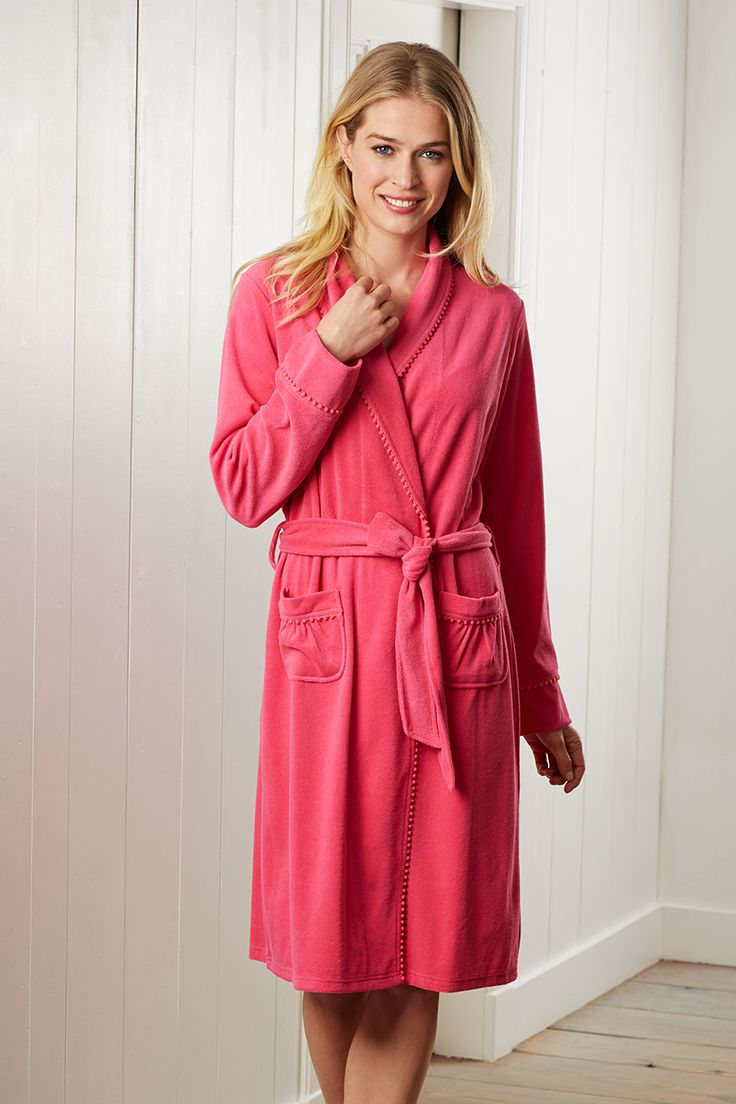 A light & luxurious crimson cotton terry morning gown
