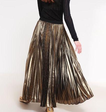 BCBGMAXAZRIA Długa spódnica złota plisowana black/gold