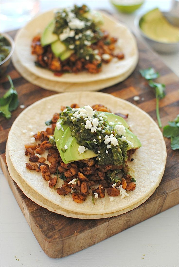 Tempeh Tacos with a Roasted Poblano Salsa | tempeh | Pinterest ...