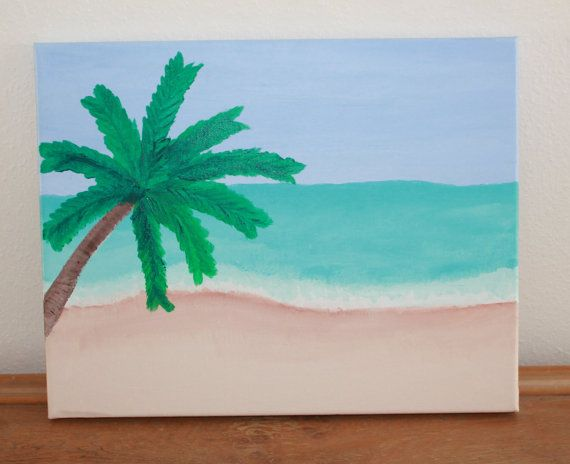 Wall art, tropical  beach canvas painting: Hand painted beach scene canvas art on Etsy, $24.00