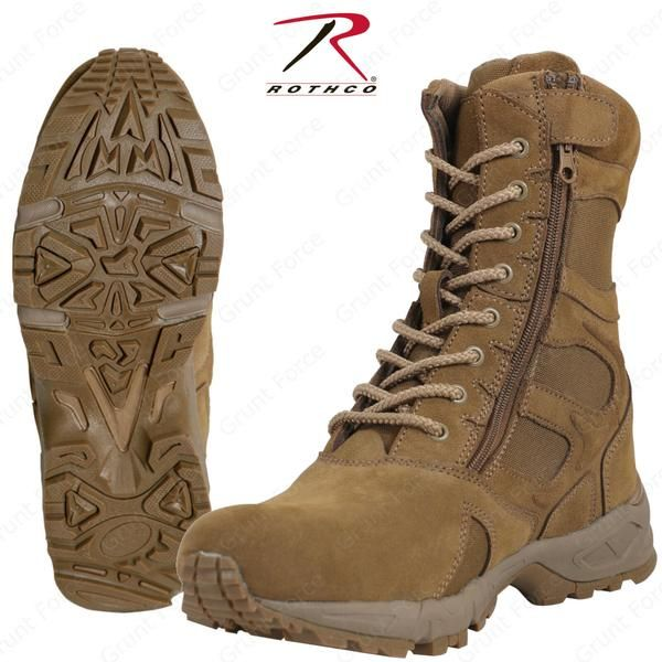 Rothco Forced Entry 8 Deployment Boots W Side Zipper Ar 670 1 Coyote Brown Tactical Boots Boots Military Style Boots
