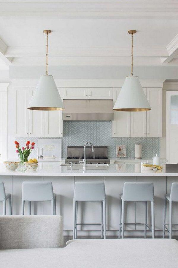 Light Blue Chevron Tile Backsplash in a Modern Costal Kitchen
