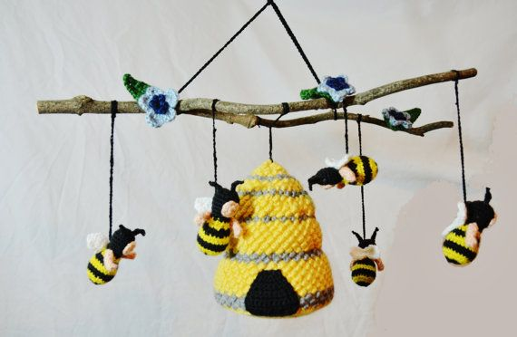 Bumble bee Baby Nursery Mobile Crochet Pattern! Etsy listing at https://www.etsy.com/listing/176266722/bumble-bee-baby-crib-mobile-crochet