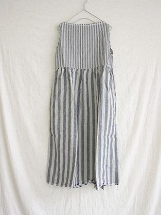 Antiquités linen stripe boat neck gather one piece (#51129)