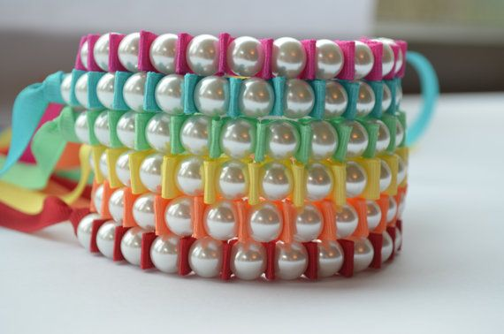 Perfect Stocking Stuffer. Holiday Gift. Gift pack Ribbon Pearl Bracelet Trio in your choice of colors by twillypop
