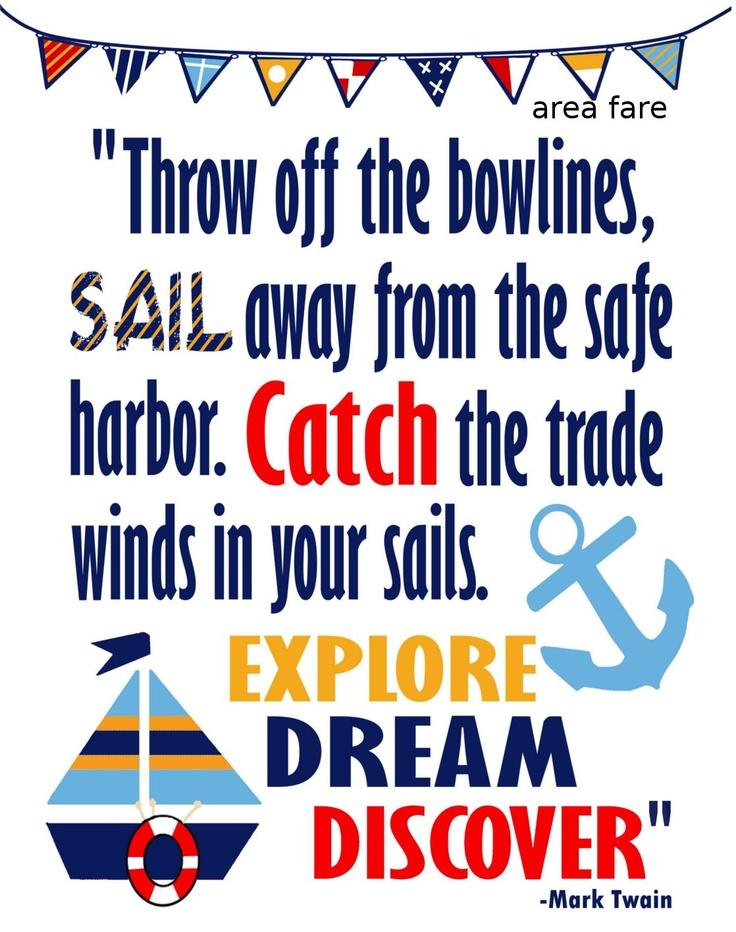 8x10 Explore, Dream,Discover Nautical Mark Twain Quote Art Print... $15.00, via Etsy.