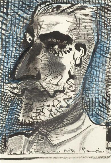 'Paris Self-Portrait' by John Byrne (watercolour and pencil on paper)