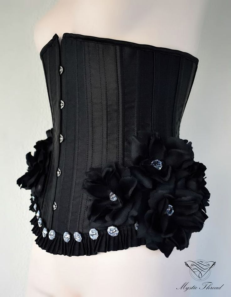 #black #underbust #gothic #victorian #costume #corset decorated with #black #roses and #Preciosa #crystal #gems  by #mysticthread / e-shop: www.mysticthread.com