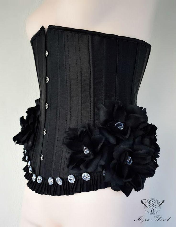 #black #underbust #gothic #victorian #costume #corset decorated with #black #roses and #Preciosa #crystal #gems  by #mysticthread / e-shop: www.mysticthread.com