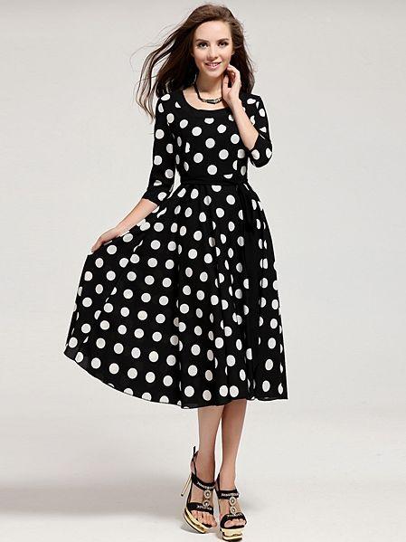 Elegant Slimming Half Sleeve Round Collar Black Polka Dot Dress