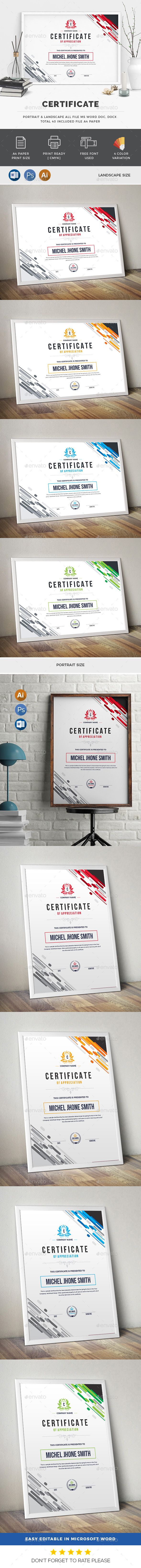 Color #Certificate - Certificates #Stationery Download here: https://graphicriver.net/item/color-certificate/20092145?ref=alena994