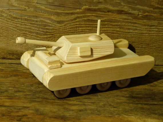 Wood Toy Army Tank M1A1 Wooden Toys Handmade by OutOnALimbADK
