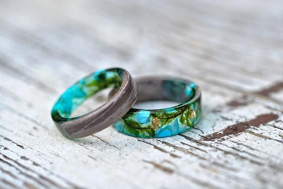 Forest women ring, Wood Grass Resin Ring, Women Nature Unique ...