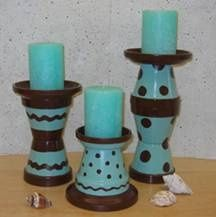 clay pots craft-ideas: Crafts Ideas, Terra Cotta, Candles Holders, Pots Crafts, Pots Candles, Flower Pots, Terracotta, Cotta Can, Clay Pots