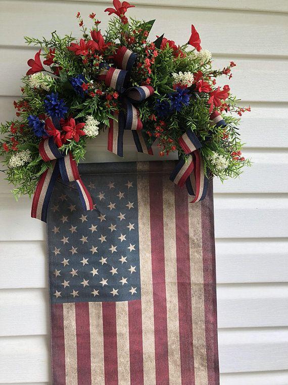 Memorial Day Wreath July 4th Wreath Americana Wreath 4th of July Wreath Patriotic Wreath Independence Day Wreath American