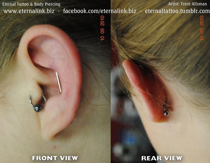 vertical reverse industrial piercing   Piercings ...