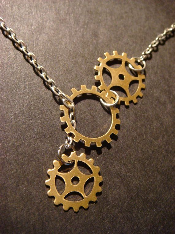 Steampunk Gear and Cog Lariat Style Necklace by CreepyCreationz, $14.00 More