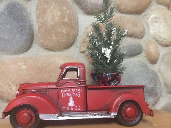 Vintage Looking  Farm Fresh Christmas Trees For Sale Red Metal