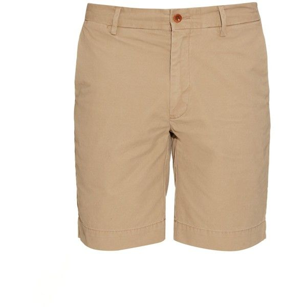 Polo Ralph Lauren Brushed-cotton chino shorts (21.235 HUF) via Polyvore featuring men's fashion, men's clothing, men's shorts, beige, polo ralph lauren mens clothing, polo ralph lauren mens shorts, mens slim fit shorts, mens summer shorts and mens chino shorts