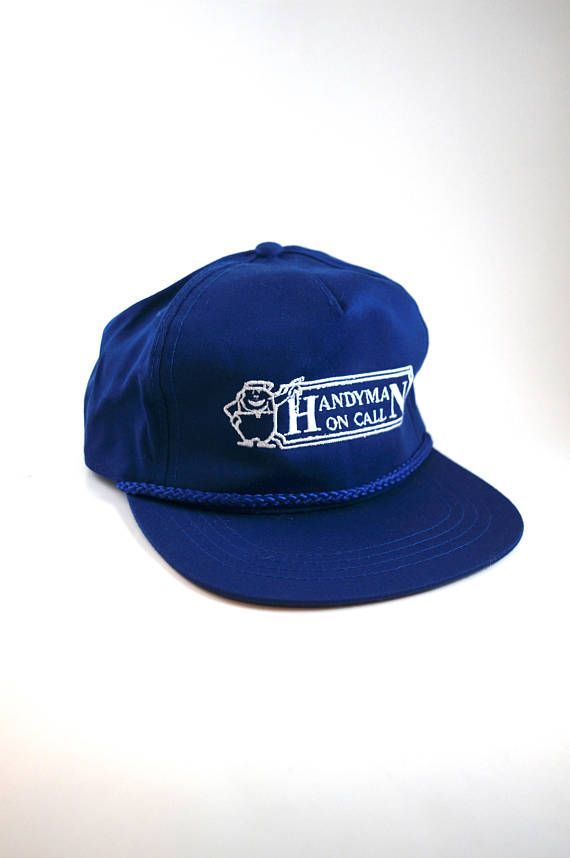 6f0c3e80cbc12 Handyman On Call Trucker Hat with Rope Detail    Vintage Blue Snapback  Trucker Hat Cap