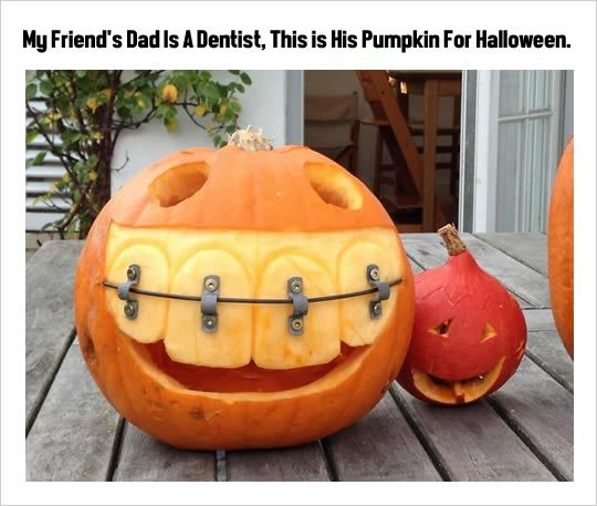 Great pumpkin for people who hand out toothbrushes.