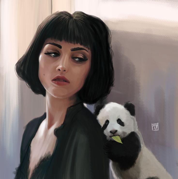 by Ceren Demiral #portre #portrait #sheep #illustration #draw #man #digitalpaint #woman #paint #panda #animal
