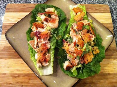 Chicken Caesar Lettuce Wraps INGREDIENTS 1 Head Romaine Lettuce 1 lb. Boneless Skinless Chicken Breast 4 Strips Bacon – Cooked Crisp and Crumbled 1 Cup Parmesan Cheese – shredded 4 Tbs. Caesar Dressing 1 Tbs. Garlic Powder 1 Tbs. Italian Seasoning Olive Oil (2 Tbs. Peace and Love)