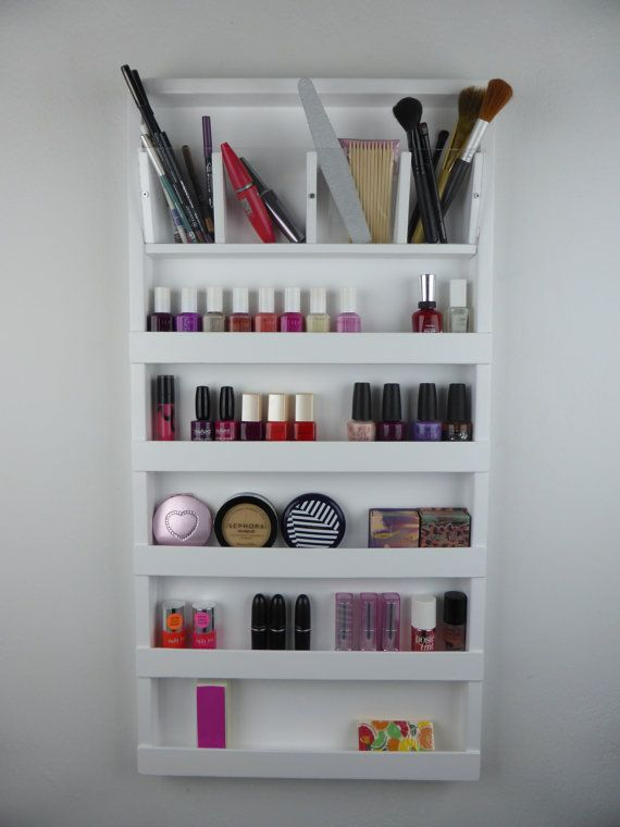 White make up organizer  display bathroom by CraftersCalendar