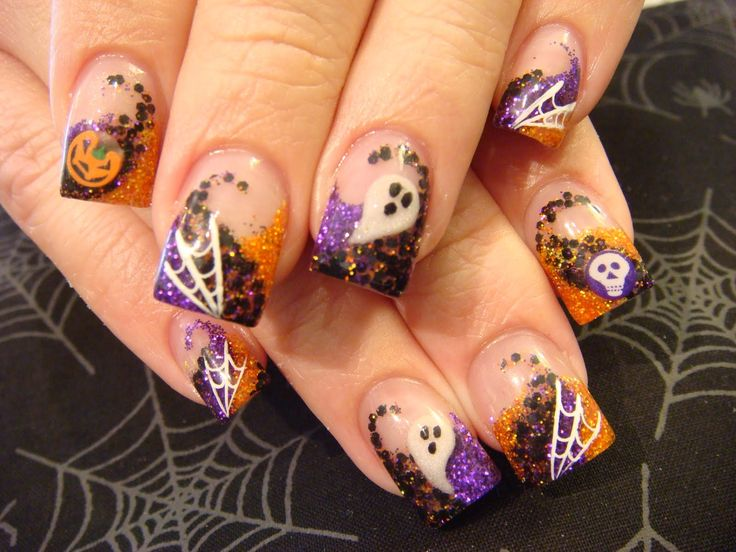 halloween nail designs | just loving this design. Just a cute Halloween combination. The ...