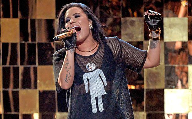 Demi Lovato Wears Gender Inclusive Bathroom Symbol At BBMA