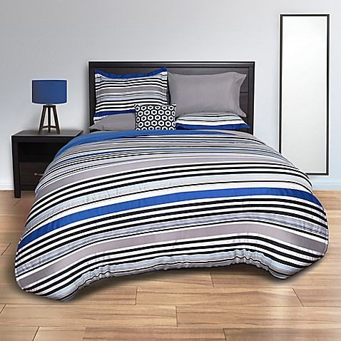Striped Blue Comforter Set in Blue/Grey