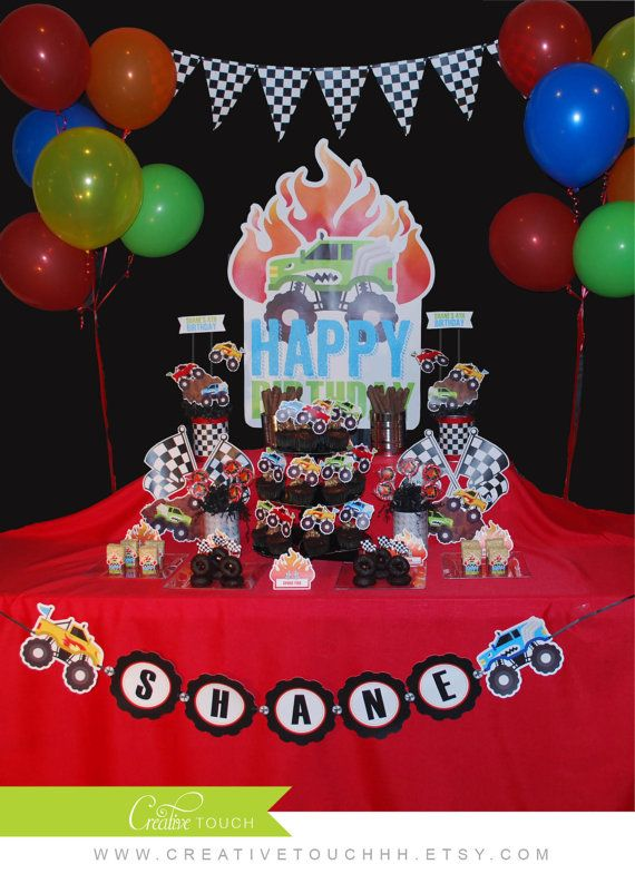 Monster Truck Birthday Party, Monster Jam Birthday Party, Monster Truck Party, Monster Jam Party, Monster Truck Cupcake Toppers, Monster Jam Cupcake Toppers, Cars, Cake, Decoration, Racing, Mudding, Off Roading, centerpieces, Banner, Party Food, Backdrop, by CreativeTouchhh