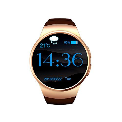 KW18 Smart watch Bluetooth 40 Support Sim card Heart rate monitor Mic Gold >>> Learn more by visiting the image link.