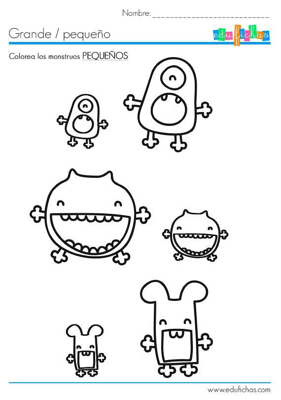 Aprende a distinguir entre grande y pequeño. Colorea los elementos pequeños. #preescolar  http://www.edufichas.com/actividades/recursos-educativos/diferencias/colorea-pequeno/